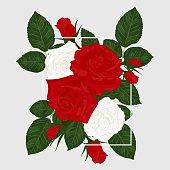 istock Floral background vintage roses, leaves and buds frame. Vector illustration 1291768774