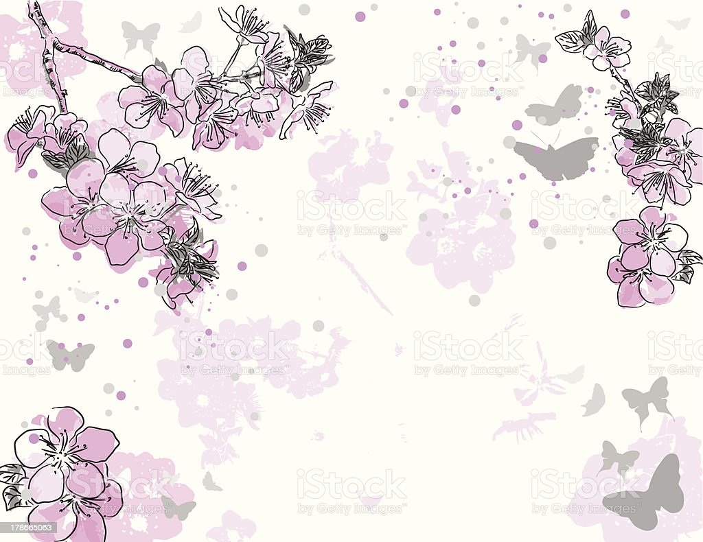 floral background with a flower sakura vector art illustration