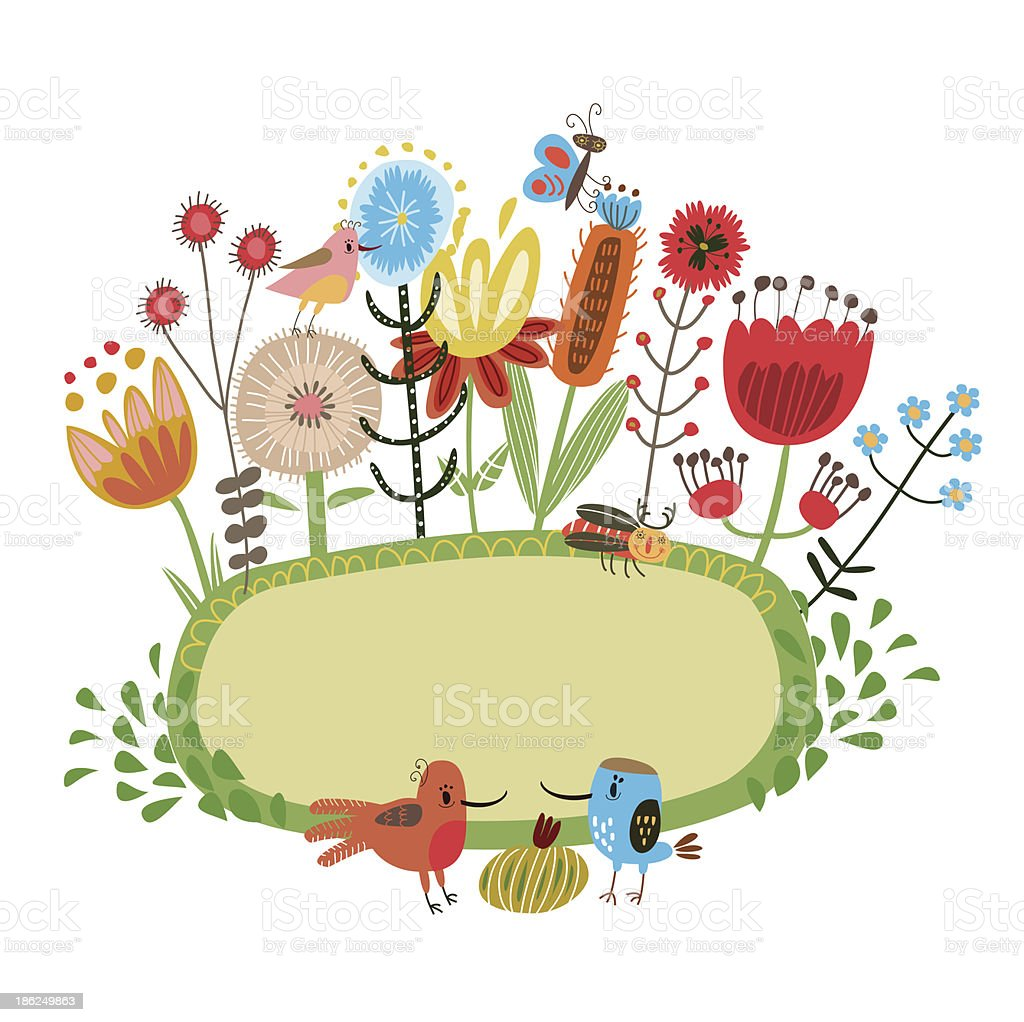 Floral background with birds and bugs royalty-free stock vector art