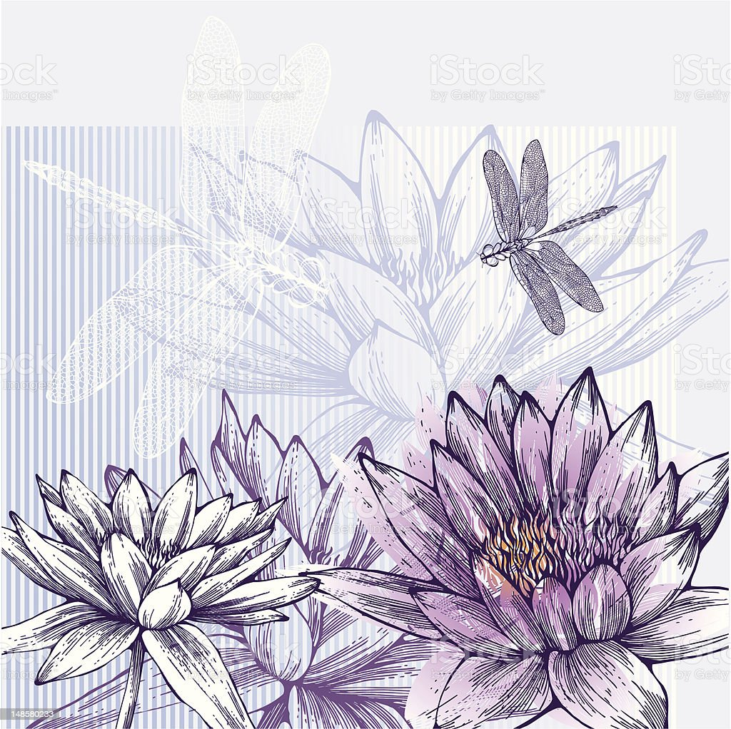 Fond Floral Avec Un Fleur De Nenuphar Et Dragonflies Volant Dessin A