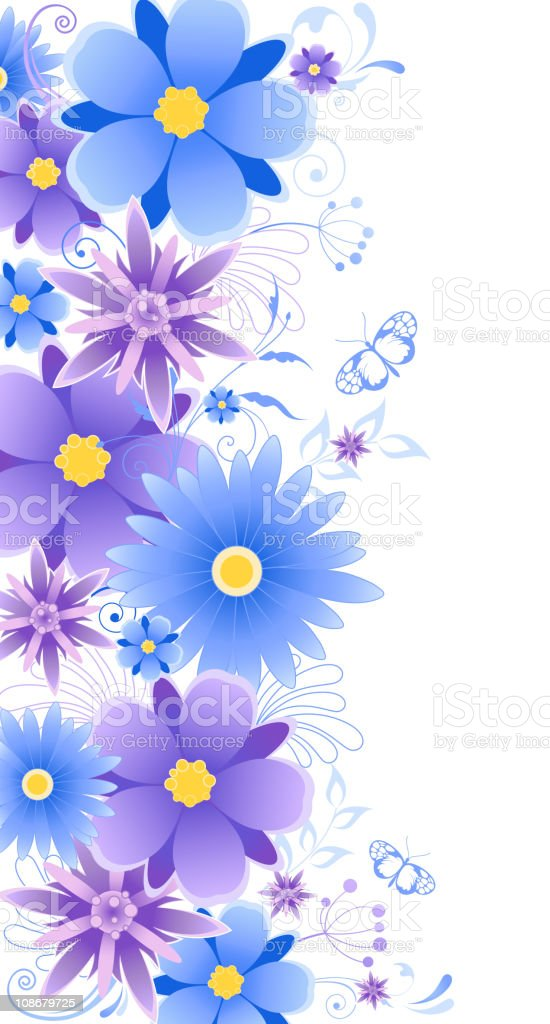 floral background with blue flowers royalty-free stock vector art