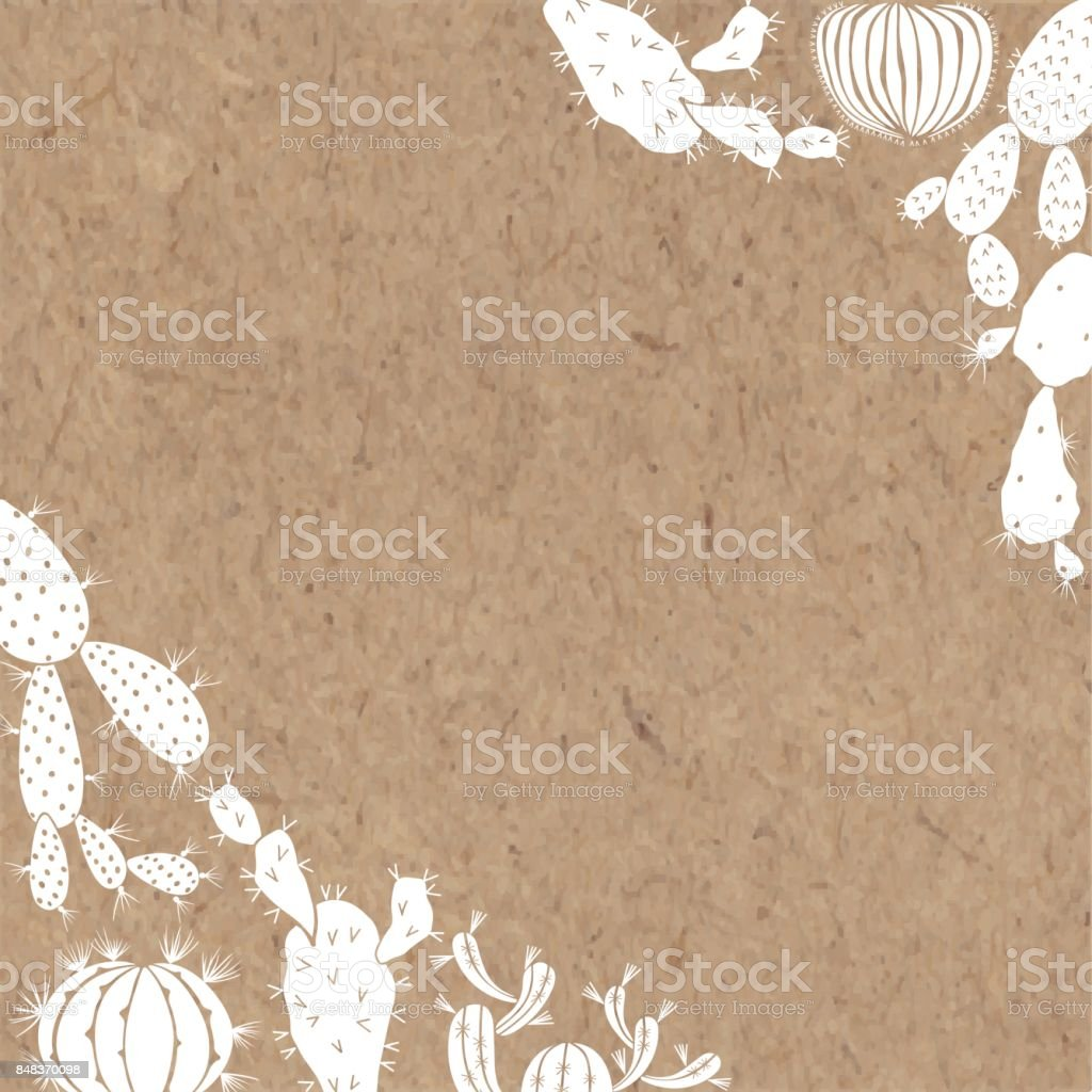 Floral background with cacti. Vector illustration with space for text. Corner composition. White silhouettes of plants on a kraft paper. vector art illustration