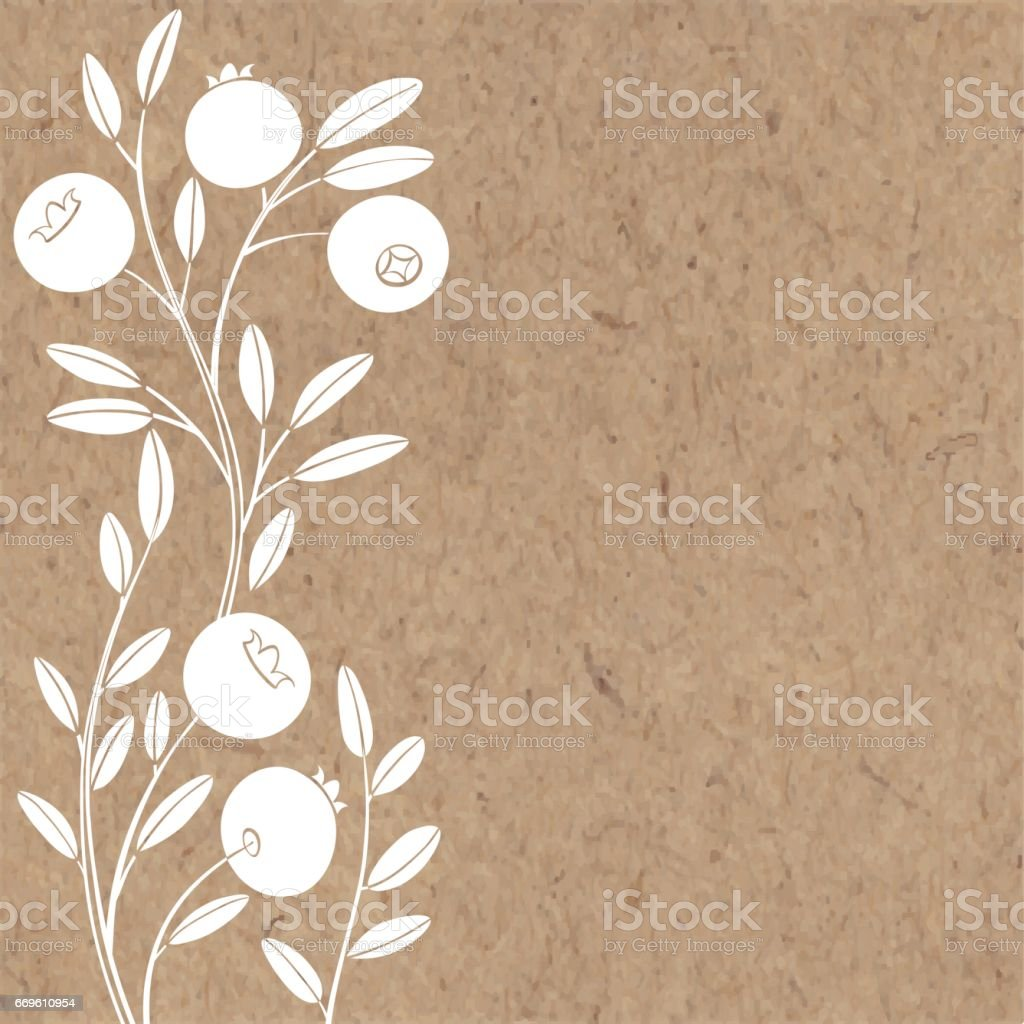 Floral background with cranberry and place for text. Vector illustration on a kraft paper. vector art illustration