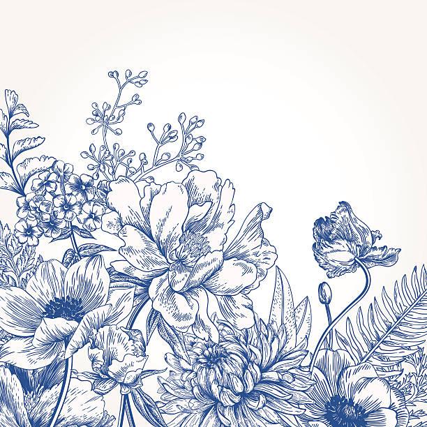 플로럴 배경기술 꽃을. - 꽃 식물 stock illustrations