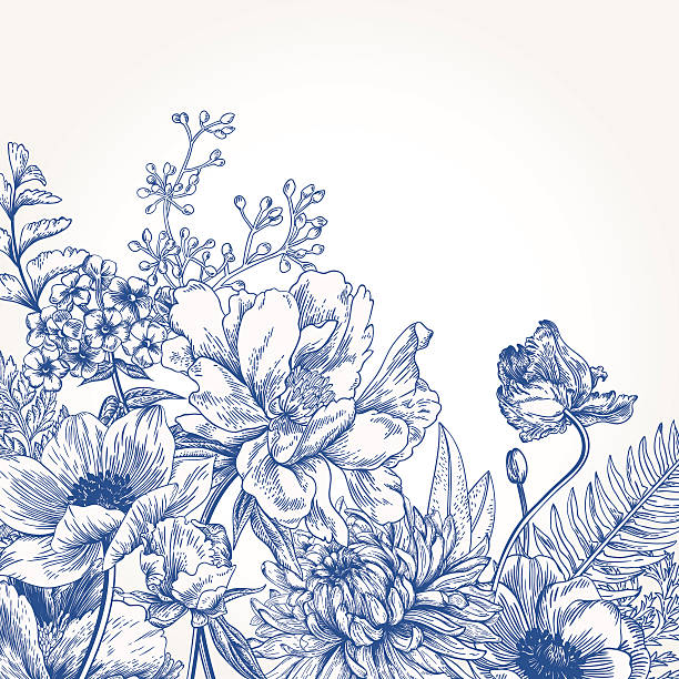 bildbanksillustrationer, clip art samt tecknat material och ikoner med floral background with flowers. - blomdel