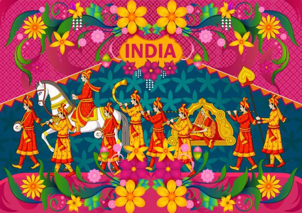 stockillustraties, clipart, cartoons en iconen met floral background with indian wedding baraat showing incredible india - indiase cultuur
