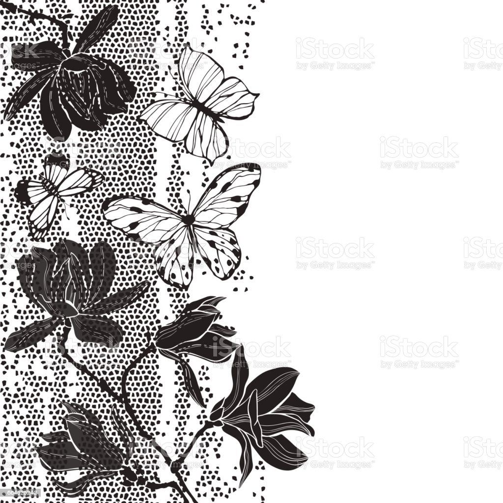Floral background with magnolia flowers and butterflies on the texture and white background. Black and white greeting card or invitation. royalty-free floral background with magnolia flowers and butterflies on the texture and white background black and white greeting card or invitation stock vector art & more images of abstract