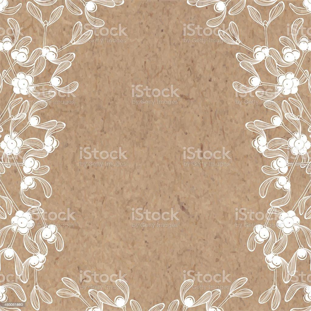 Floral background with mistletoe on kraft paper. vector art illustration