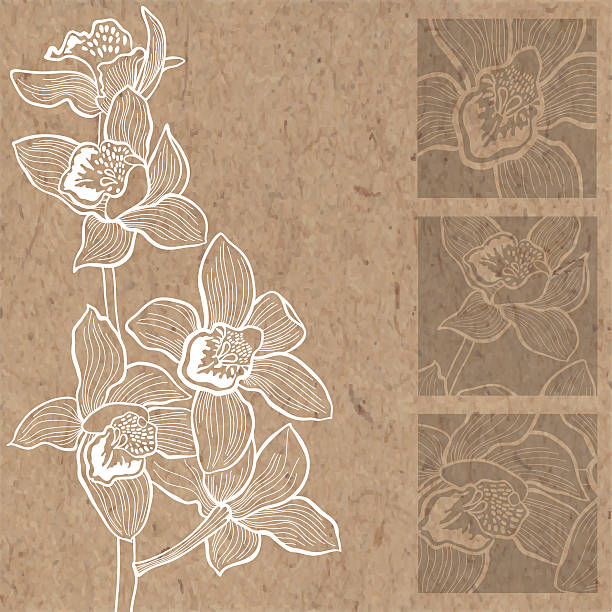 Floral background with orchids on kraft paper. Orchid. Monochrome floral background with space for text, vector illustration on kraft paper. Can be greeting card, invitation, design element. orchid stock illustrations