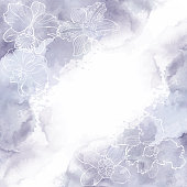 Orchid. Monochrome floral background with space for text, vector illustration on watercolor.