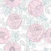 Floral background. Seamless vector pattern with hand drawn peonies and leaves