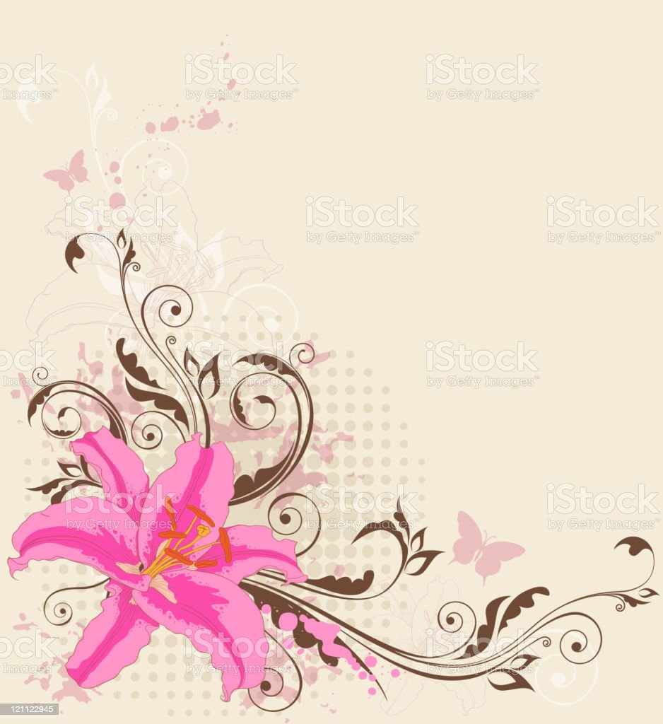 floral background with pink  lily royalty-free stock vector art