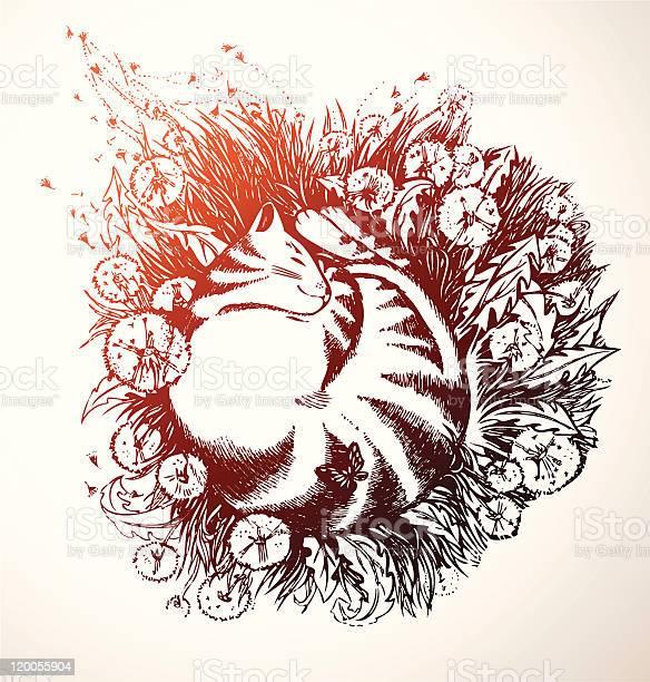 Floral background with sleeping cat vector id120055904?b=1&k=6&m=120055904&s=612x612&h=dmspws0oe0fyugddxjwofjcvjqovq0gsds2s9bkvzwe=