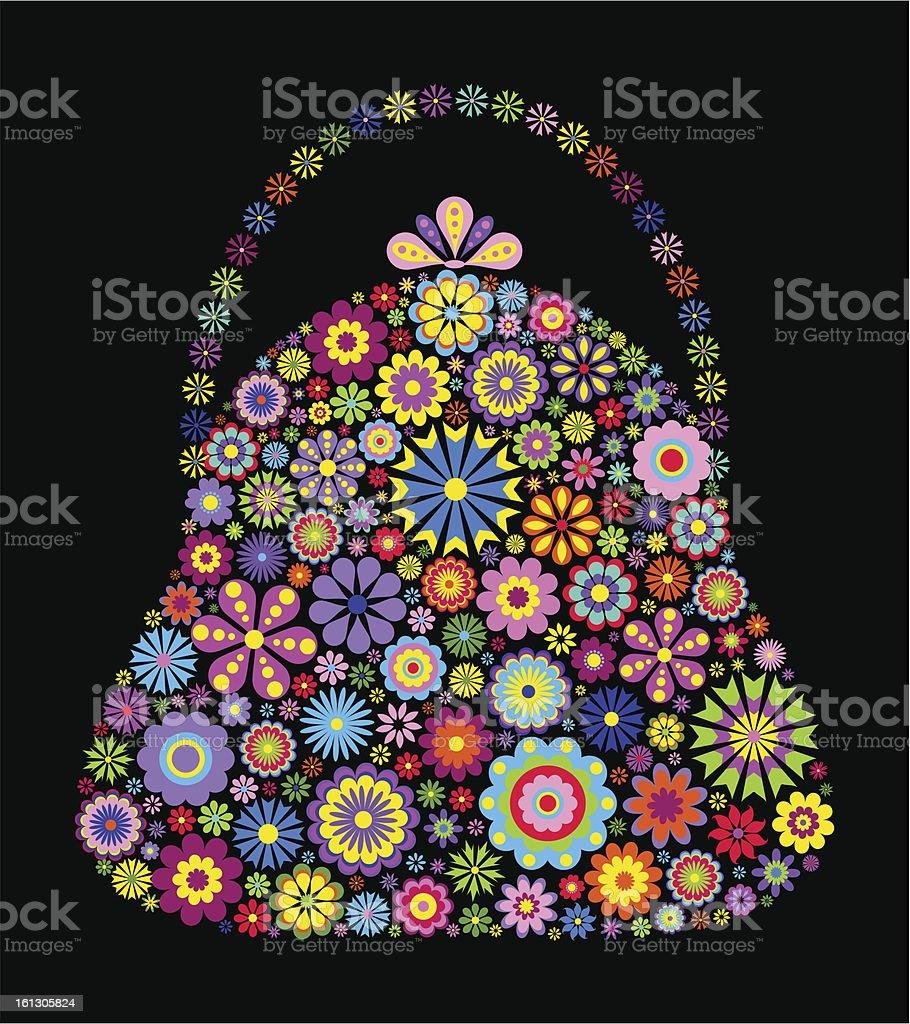 floral bag on black background royalty-free stock vector art