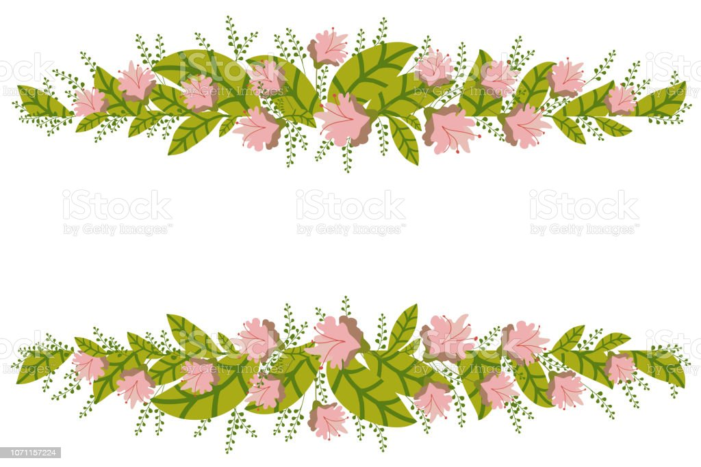 Floral Banner Isolated On White Background Flower