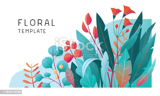 Trendy floral decoration for multiple purposes.  Fully editable vectors.