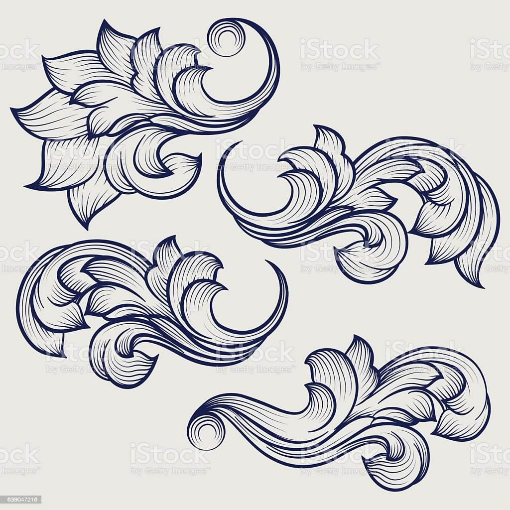 Floral baroque engraving elements vector art illustration