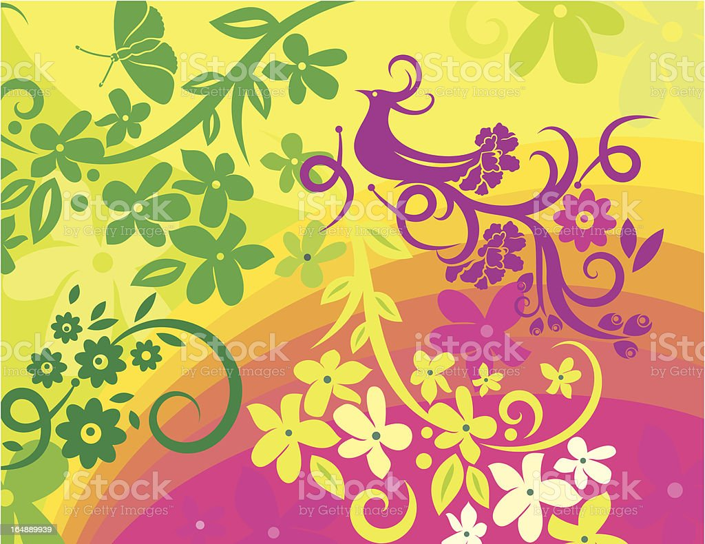Floral Bird Background Series royalty-free floral bird background series stock vector art & more images of animal