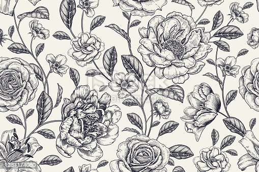 istock Floral black and white background. Vintage seamless pattern. Vector. 1287174080