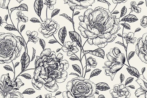 Floral black and white background. Vintage seamless pattern. Vector.