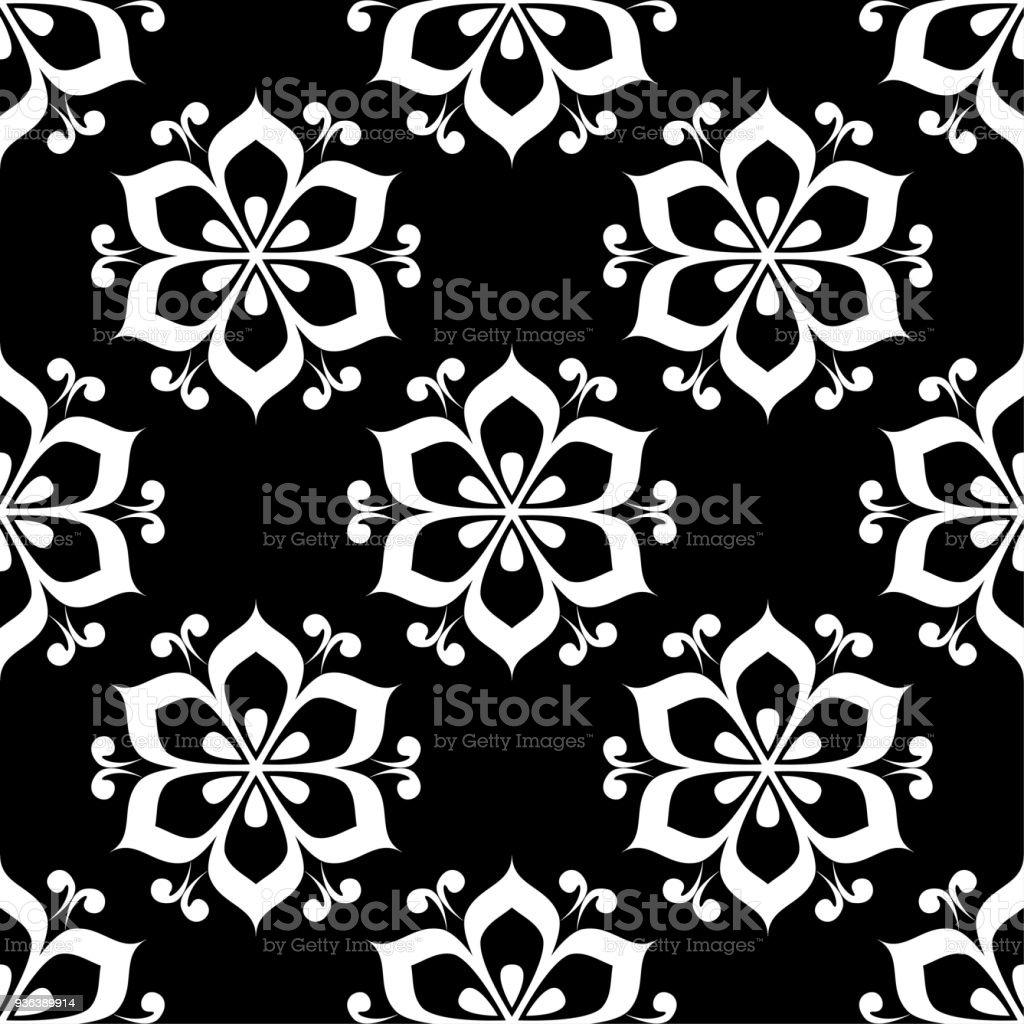 花黒と白のモノクロのシームレスなパターン壁紙のフラワー要素の背景 イラストレーションのベクターアート素材や画像を多数ご用意 Istock