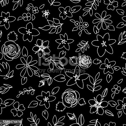 istock Floral black and white, outlines seamless pattern 1289474416