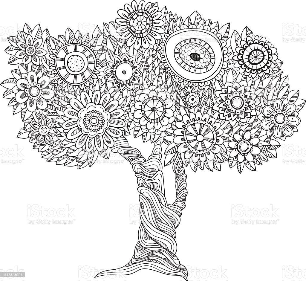 花柄の白黒の木 いたずら書きのベクターアート素材や画像を多数ご用意