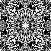 Floral black and white vector seamless mandala pattern. Template. Monochrome abstract ethnic style arabic flowers, swirls, lines. Lace ornaments. Beautiful decorative background. Ornamental design