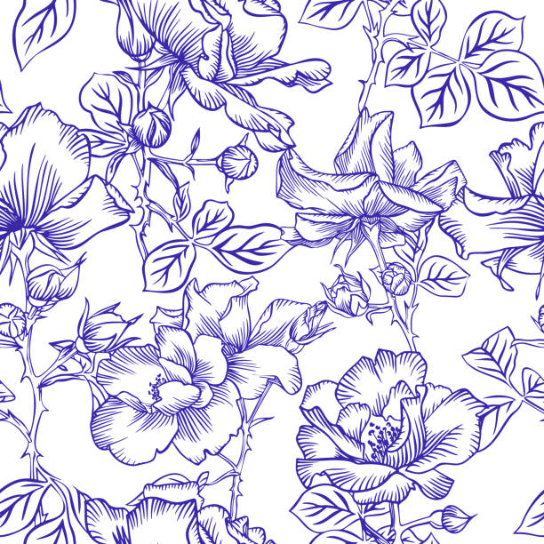 Floral bloom. Silhouettes of large roses and petals. Outline sketch contour drawing, Line art. Seamless pattern of garden flowers drawn by pen. Floral bloom. Silhouettes of large roses and petals. Outline sketch contour drawing, Line art. Seamless pattern of garden flowers drawn by pen. flower head stock illustrations