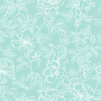 Floral bloom. Silhouettes of large roses and petals. Outline sketch contour drawing, Line art. Seamless pattern made of garden flowers. Fashion design for fabric and textile, postcards, wallpaper.
