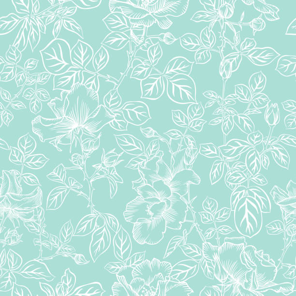 Floral bloom. Silhouettes of large roses and petals. Outline sketch contour drawing, Line art. Seamless pattern made of garden flowers. Fashion design for fabric and textile, postcards, wallpaper. Floral bloom. Silhouettes of large roses and petals. Outline sketch contour drawing, Line art. Seamless pattern made of garden flowers. Fashion design for fabric and textile, postcards, wallpaper. floral and decorative background stock illustrations
