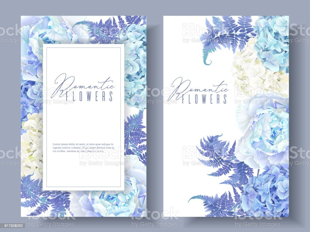 Floral blue banners vector art illustration