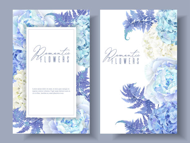 floral blue banners - wedding backgrounds stock illustrations, clip art, cartoons, & icons