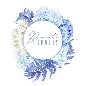 Floral blue round banner