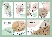 Set of modern abstract boho floral templates for various purposes with copy space. Editable vectors on layers. This image contains transparencies.