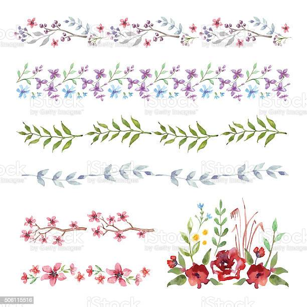 Floral border set of vintage watercolor flowers vector id506115516?b=1&k=6&m=506115516&s=612x612&h=t4bh3s nrkiiggq6dfeszxilcagvkcb5lilmjphovyc=