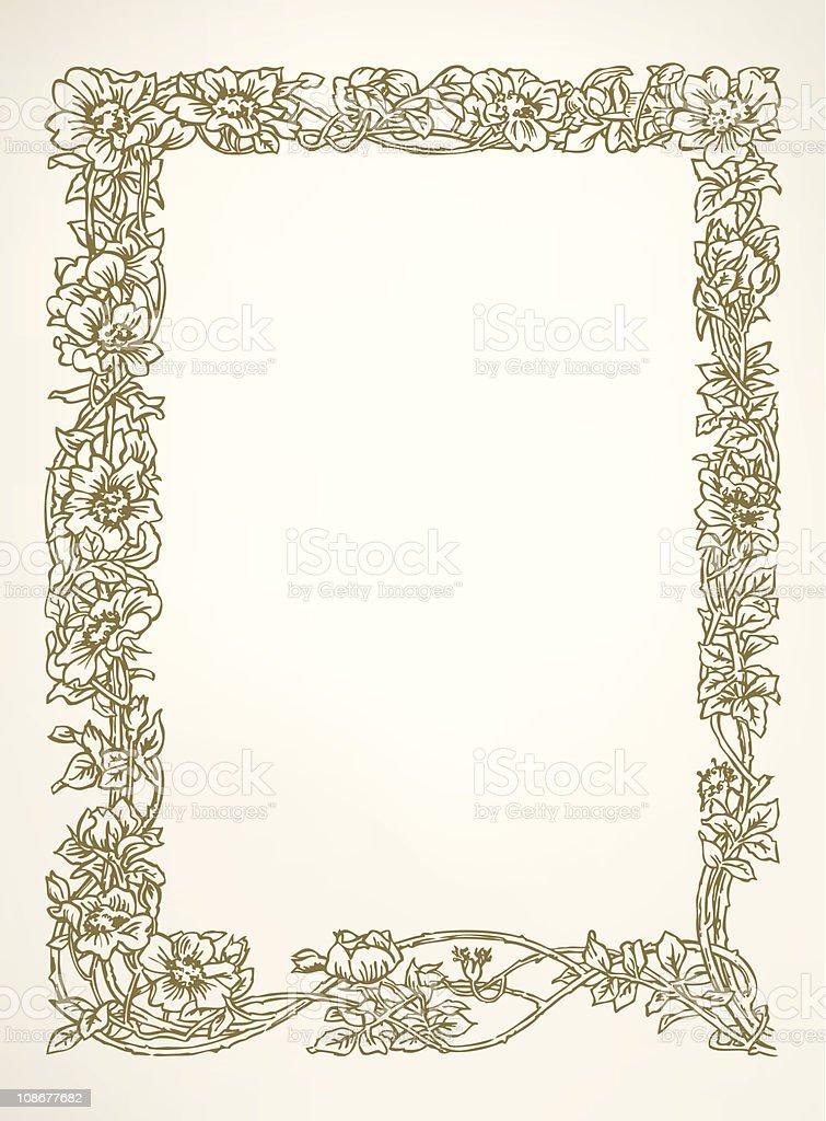 Floral Border vector art illustration
