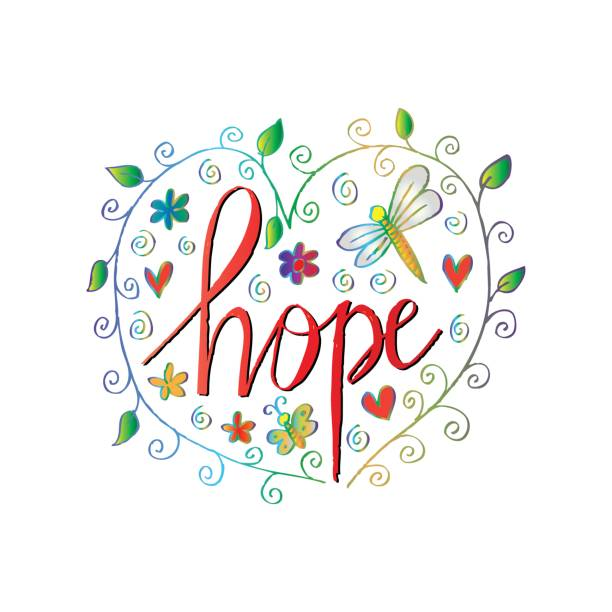 ilustrações de stock, clip art, desenhos animados e ícones de floral border with hope lettering. - hope