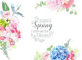 Floral borders arranged from pink rose, white orchid, ranunculus, blue and green hydrangea, greenery vector design frame. Spring beauty banner card. All flowers are not cut. Isolated and editable
