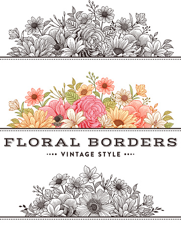 Vintage flower borders, frames.File is layered with global colors.More works like this linked below.