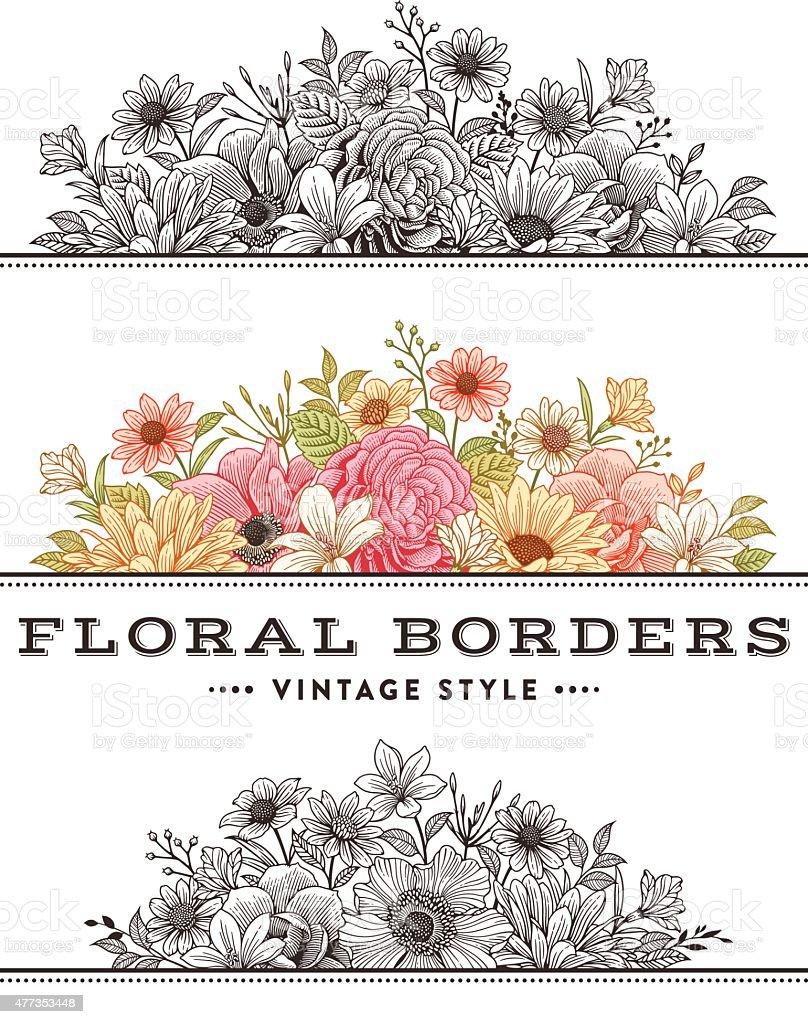 Floral Borders vector art illustration
