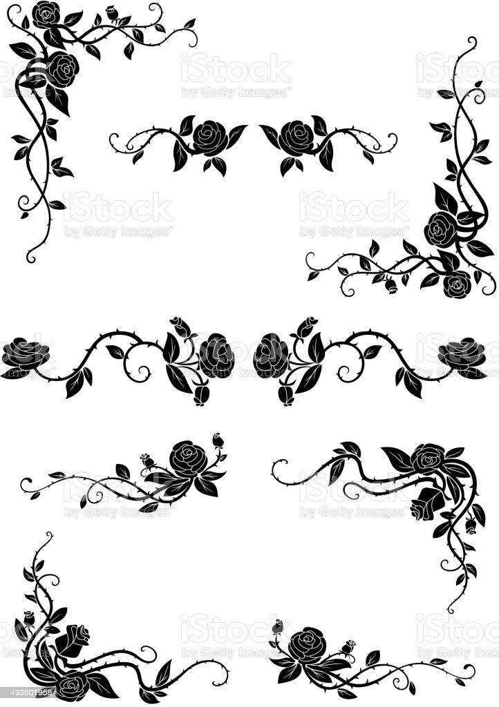 Floral Grenze mit blühenden Rosen Blumen – Vektorgrafik