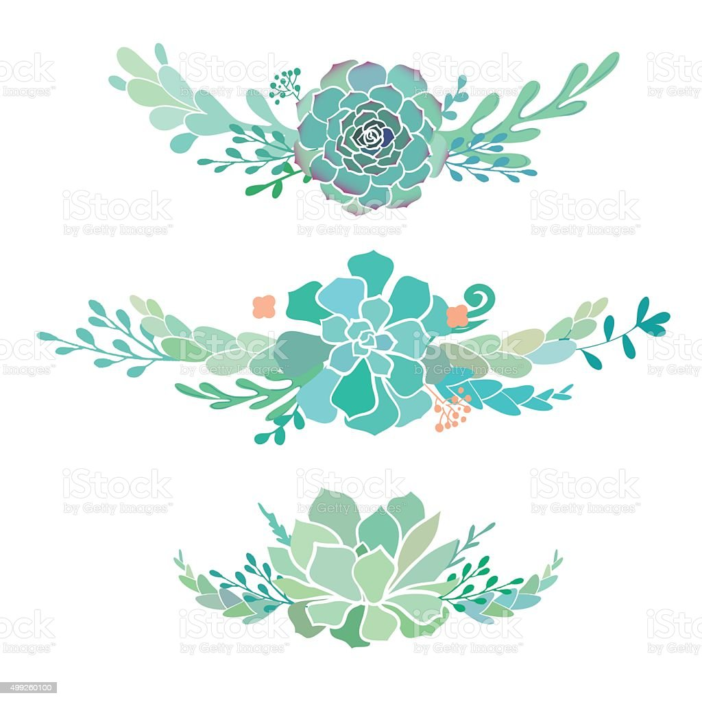 floral borders with succulents stock vector art amp more