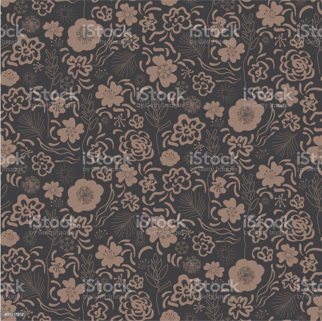 Çiçek botanik davranışıydı yazdırma seamless modeli. Elle çizilmiş doku bej soyut çiçek, yapraklarda siyah arka plan ile. - Royalty-free ABD Vector Art