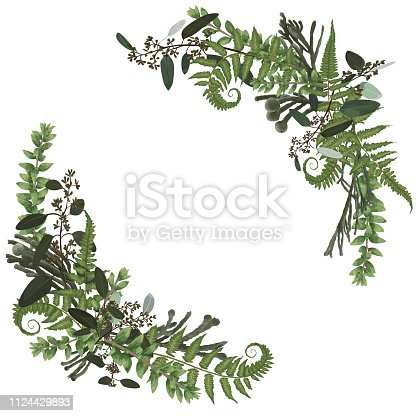 istock Floral bouquet design set, green forest leaf, fern, branches boxwood, buxu, brunia, eucalyptus. Watercolor style, herbs. Wedding for invite card Isolated design elements 1124429893