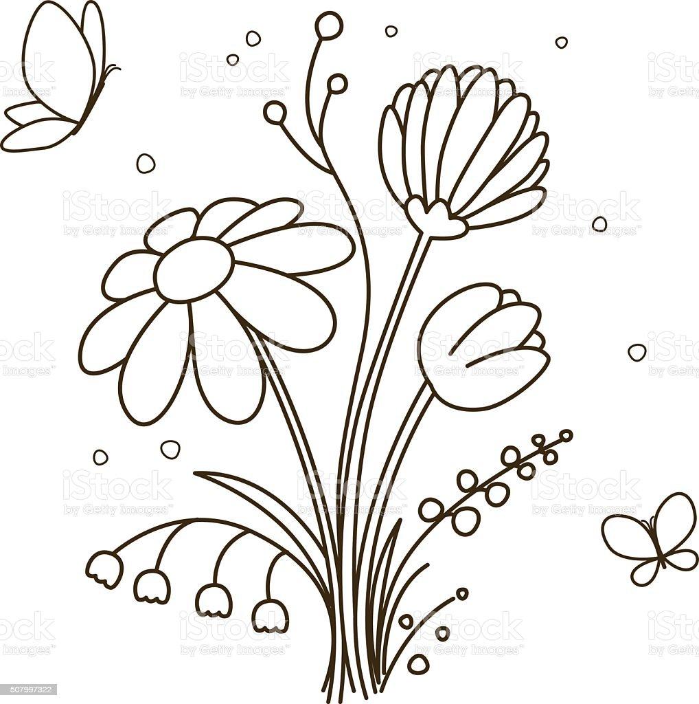 Ilustración de Ramo De Flores Para Libro Para Colorear y más banco ...
