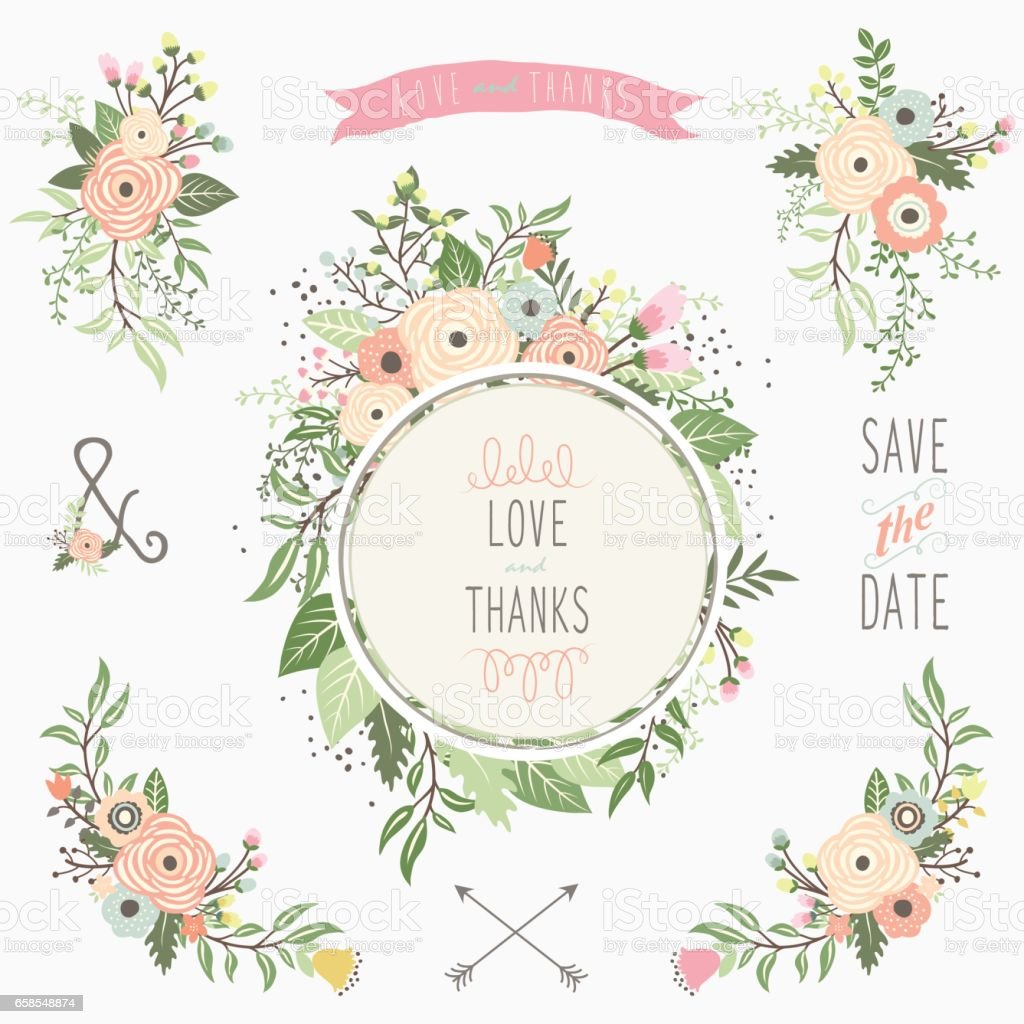 Floral Bouquet Frame Elements vector art illustration