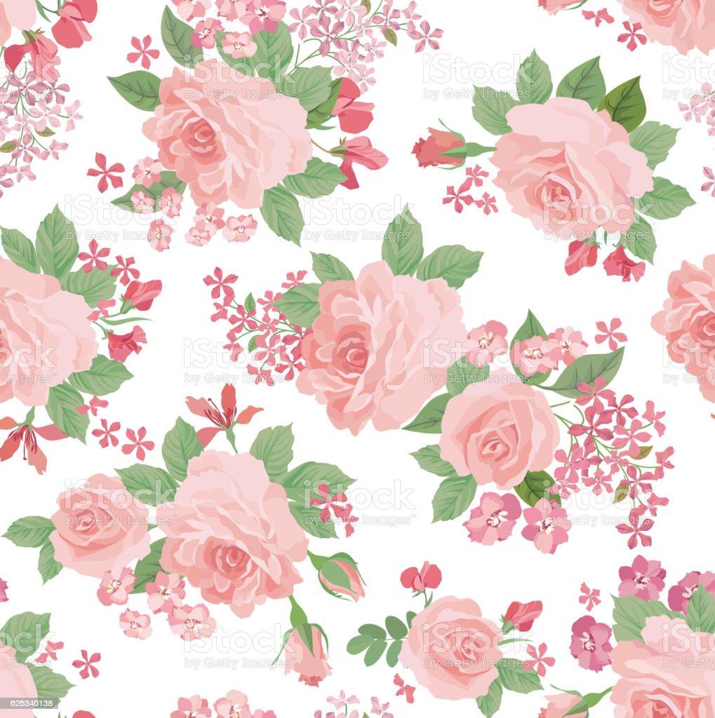 floral bouquet seamless pattern flower rose pastel