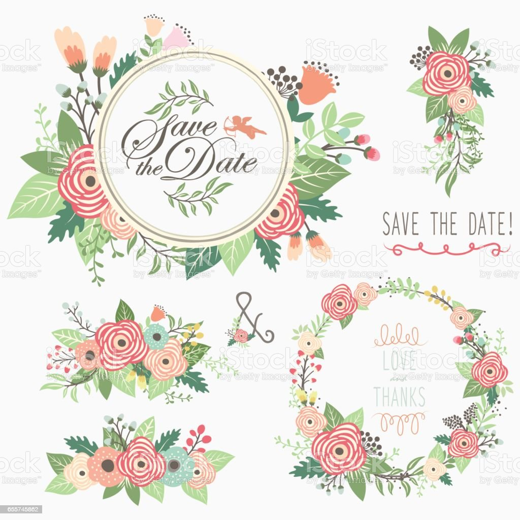 Floral Bouquet Wreath Frame Elements vector art illustration