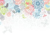 Ornate floral pattern with butterflies and birds for your design isolated on white background. There is blank white space for your text. EPS 8.